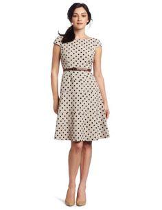 AK Anne Klein Women's Natural Dotted Swing Dress