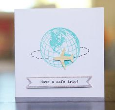 Have A Safe Trip Card by Linda Barber using Jillibean Soup's Travel clar stamp and Neopolitan Bean Bisque paper (via the Jillibean Soup blog).