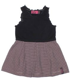 ZieZoo mouwloos jurkje antraciet met lichtroze streepjes