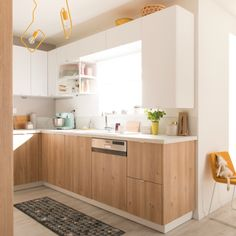 Scandinavian and bright cuisine! Living Room Kitchen, Home Decor Kitchen, New Kitchen, Home Kitchens, Kitchen Design, Deco Furniture, Kitchen Furniture, Small Space Living, Home Remodeling