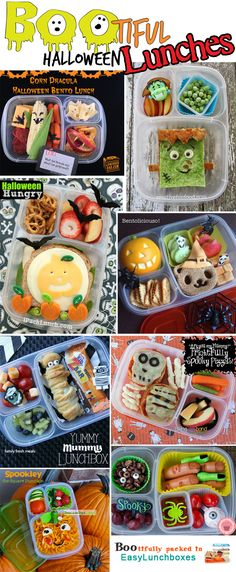 Spook-a-licious Halloween lunches │ Containers by EasyLunchboxes. Lunch Snacks, Kid Snacks, Halloween Lunch Ideas, Spooky Halloween, Kids Lunch For School, School Lunches, Lunch Boxes For Kids, Kids Lunch Containers, Boite A Lunch