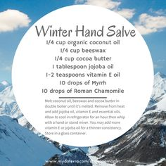 Winter Hand Salve ~ If you want to make it a little thinner you can add a little more of the jojoba or vitamin E oil as you are blending it! It fits perfect in a 4 ounce container!