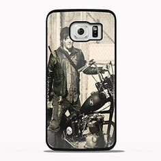 Daryl Dixon's Riding Motor Cycle Design Gno for Samsung Galaxy and Iphone Case (Samsung S6 Edge black)