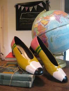 Remake a pair of shoes into pencil shoes- adorable! .Unfortunately the link doesn't lead to the right place, but the photo is still cute for inspiration or DIY.