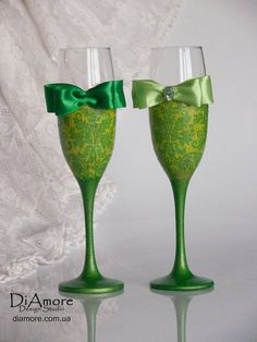 lime green wedding glasses from the collection DAMASK