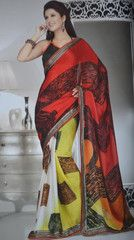 Red yellow and off white colour wrinkle chiffon material #saree #sari #indianwear #traditional