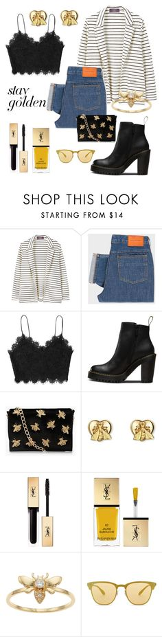 """""""Stay Gold"""" by chocolateazucar ❤ liked on Polyvore featuring MANGO, PS Paul Smith, Magdalena, Gucci, Yves Saint Laurent, LC Lauren Conrad, Ray-Ban, gold, blazer and jeans"""