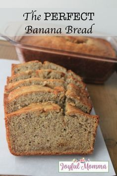 This recipe truly is The PERFECT Banana Bread. It& not too dense, not dry, not cake like, a nice fluff, no darkened bottom or edges. My Favorite Food, Favorite Recipes, Tasty, Yummy Food, Yummy Yummy, Perfect Food, Something Sweet, Dessert Recipes, Breakfast Recipes