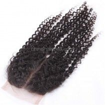 Peruvian Virgin Human Hair 4*4 Popular Lace Closure Afro Curly Natural Hair Line and Baby Hair [PVAKCTC]