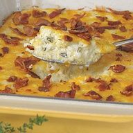 Bacon and Cheddar Cheese Grits Casserole -- answers the question, what is better than cheesey grits?