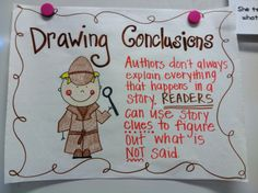 Hi friends! It& October already? I cannot believe it. I just wanted to stop in to share our drawing conclusions activities. Anchor Charts First Grade, Ela Anchor Charts, Kindergarten Anchor Charts, Reading Anchor Charts, Kindergarten Reading, Teaching Reading, Reading Activities, Guided Reading, Teaching Ideas