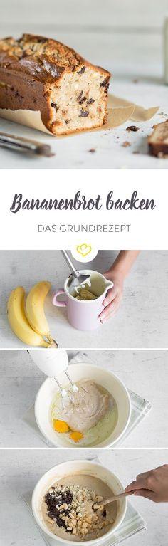 This is how you bake juicy banana bread: the basic recipe - FOOD Baked Banana, Banana Bread, Baby Food Recipes, Sweet Recipes, Good Food, Yummy Food, Just Eat It, Comfort Food, Sweet Bread