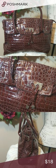 "NY&C Croc Embossed Handbag EUC, one small scuff mark on front, not noticable unless you look for it.  Approximate measurements are 14""W x 11""H with 5"" strap drop.  Zip top closure. Zippered pocket inside well as two multi-functional pockets. New York & Company Bags Shoulder Bags"