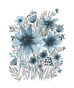 Blue & Brown Watercolor Floral Print