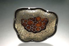 Michelle Startz    Mokume game with copper and nickel, copper, enamel