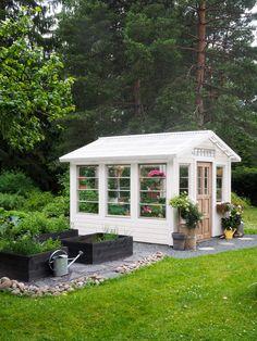 Garden Cottage, Home And Garden, Outdoor Spaces, Outdoor Living, Metal Garden Furniture, Outdoor Buildings, Diy Outdoor Kitchen, Backyard Greenhouse, Garden Architecture