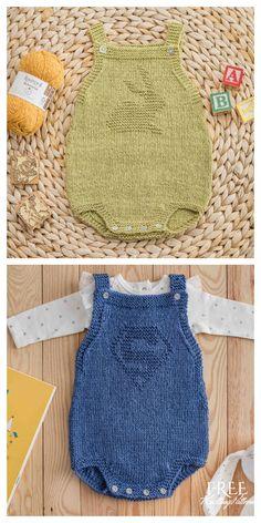 Baby Cardigan Knitting Pattern Free, Baby Romper Pattern, Baby Knitting Patterns, Baby Patterns, Knitted Baby Clothes, Knitted Romper, Baby Knits, Knitting For Kids, Free Knitting