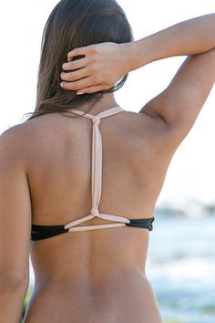 this t-back look is amazing - and another A cup model!  ACACIA Swimwear 2014 - Biarritz Bikini Top Storm/Naked - $101