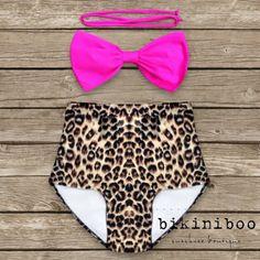 Bow Bandeau Bikini  Vintage Style High Waisted Pinup by Bikiniboo, $49.00