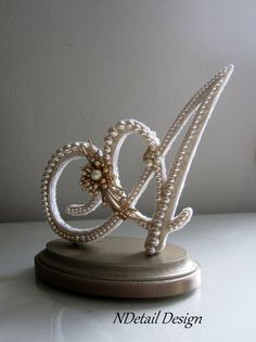 Wedding Cake Topper Monogram Letter A Vintage by NDetailDesign