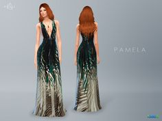 Palm Print Gown PAMELA. Inspired by Elie Saab Resort 2016 Collection.***Recolor is allowed but PLEASE DO NOT include the mesh.***DOWNLOAD