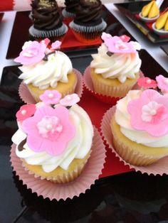 cherry blossom cupcakes- chinese new year desserts, chinese new year party, dragon cupcakes, dragon treats, panda cookies, , fortune cookies, ...