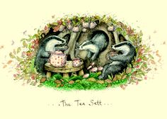 The Tea Sett - A Two Bad Mice card by Fran Evans ||| badger, anthropomorphic