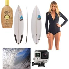 Surfing by geriksen on Polyvore featuring polyvore, fashion, style, Sun Bum, GoPro and Rip Curl