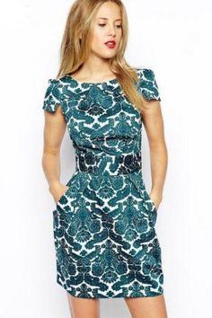 LUCLUC Royal Printed Short Sleeve Dress