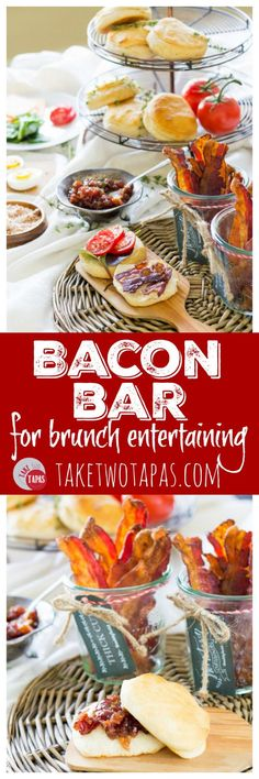 Take your entertaining to a new a fun level with a bacon bar! Different flavors and recipes that revolve around Smithfield bacon is the only way to entertain like a boss! Bacon Bar for Brunch Entertaining | Take Two Tapas
