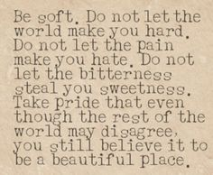 Be soft. Do not let the world make you hard. Do not let the pain make you hate. Do not let the bitterness steal your sweetness. Take pride that even thought the rest of the world may disagree, you still believe it to be a beautiful place.