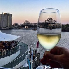 Here's to you Brisbane! Love this view from the balcony at @ponydiningeaglestreetpier