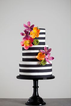 Beautiful Cake Pictures: Black & this would also look beautiful with cream and white stripes. White Striped Cake with Colorful Flowers: Cakes with Flowers, Colorful Cakes, Wedding Cakes Gorgeous Cakes, Pretty Cakes, Cute Cakes, Amazing Cakes, Beautiful Cake Pictures, Striped Cake, Striped Wedding, Wedding Cake Inspiration, Wedding Ideas