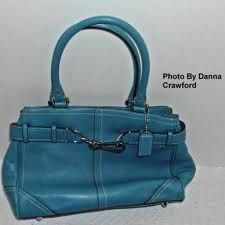 Turquiose/Teal Blue Vintage COACH Purse Handbag!