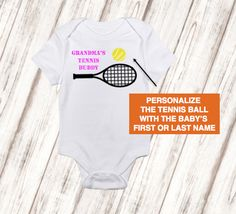 Personalized daddys baseball buddy bodysuit free shipping baby girls or boys personalized grandmas tennis buddy bodysuit free shipping baby shower gift baby birthday gift negle Images