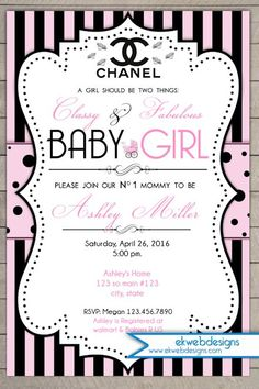 Coco Chanel Baby Shower Invitation - Parisian Inspired Baby Shower Invite