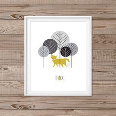 """Fox wall art, Instant download, 8x10"""", Woodland wall art, Modern nursery Art, Fox nursery, Forrest animal wall art, Modern nursery prints by LlamaCreation on Etsy https://www.etsy.com/listing/222004651/fox-wall-art-instant-download-8x10"""