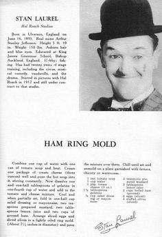 Stan Laurel - Ham Ring Mold - silent film star