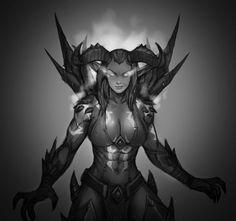Aelsae the Demon Hunter (Vengeance Form) - Khara Drayden Fantasy Rpg, Fantasy Girl, Dark Fantasy, Fantasy Races, Warcraft Art, World Of Warcraft, Dh Wow, Vampires, Dota 2 Heroes