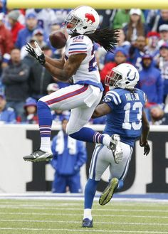 Buffalo Bills cornerback Ronald Darby (28) intercepts a pass intended for Indianapolis Colts wide receiver T.Y. Hilton (13) during the first half of an NFL football game on Sunday, Sept. 13, 2015, in Orchard Park, N.Y.