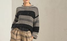 211MBA380600CN971_UC317596 Stockinette, Brunello Cucinelli, Needle And Thread, Online Boutiques, Special Gifts, Knitwear, Ready To Wear, Stripes, Passion