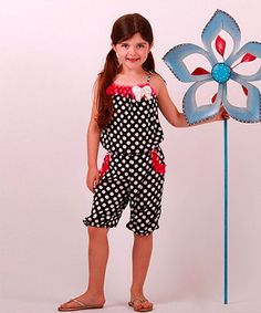Love this Black & White Polka Dot Ruffle Jumpsuit - Toddler & Girls by Mia Belle Baby on #zulily! #zulilyfinds