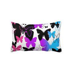 Rainbow Butterfly Teen Girls Room Pillow