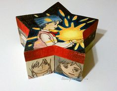 Decoupage favorite anime and manga characters to fun shaped boxes. Great way to reuse manga books that have been damaged or pages torn