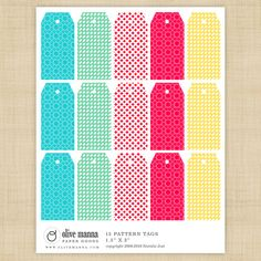 bright printable gift tags