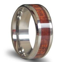 Will Queen Titanium Ring Inlaid with Wood, 8mm Wide Comfort Fit Wedding Ring…