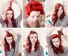 a LOT of visual clutter on the page...but a great tut!!! 3 part pinup hair tutorial Part 1