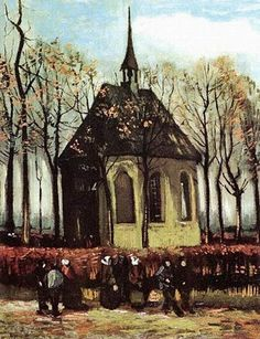 """Congregation Leaving the Reformed Church in Nuenen"""", Vincent van Gogh. (Painting stolen from the Van Gogh Museum on December 7 still unrecovered)"""" Art Van, Van Gogh Art, Vincent Van Gogh, Van Gogh Museum, Art Museum, Desenhos Van Gogh, Van Gogh Pinturas, Van Gogh Paintings, Dutch Painters"""
