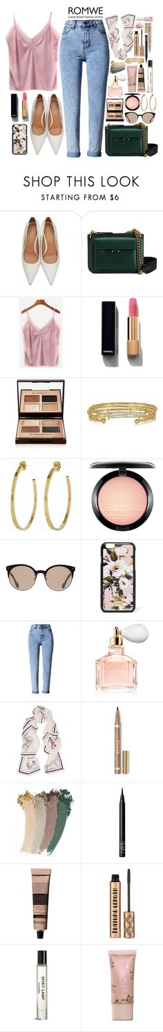 """""""Pink Velvet Top with ROMWE"""" by lady-of-rose ❤ liked on Polyvore featuring Marni, Chanel, Charlotte Tilbury, Arme De L'Amour, Alex Woo, MAC Cosmetics, Balenciaga, Dolce&Gabbana, WithChic and Guerlain"""