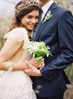 Fall #wedding trends, long flowing #bridal gowns and navy blue suits.